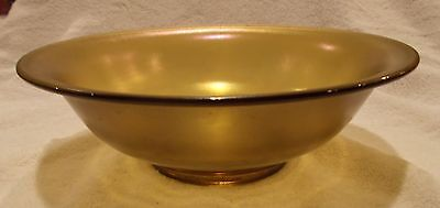 "Stretch Glass Bowl 9.75"" Art Deco Style Irridescent Green-Gold-Purple Glass"