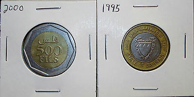1995 Dated 100 Fils & Yr 2000 Dated 500 Fils Coins from Bahrain 2 Coins in 1 Lot