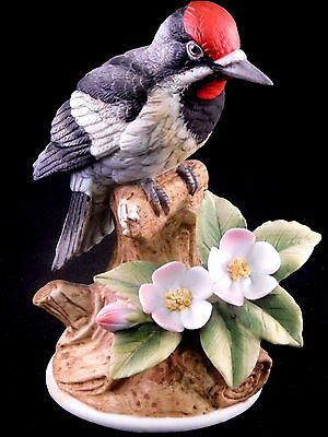 Andrea By Sadek Porcelain Bird Figurines: Downy Woodpecker by Andrea