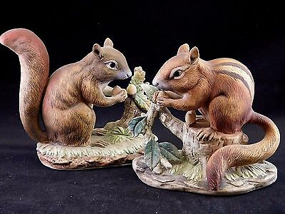 Lefton Hand Painted Porcelain Figurines: Squirrels Set of Two