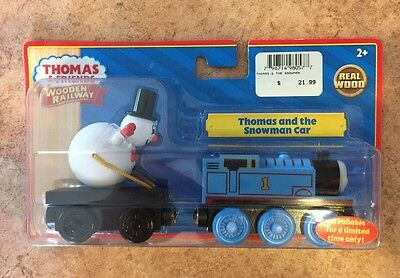 Authentic Wooden Thomas Train LTD Thomas  & The Snowman Car! NIB!
