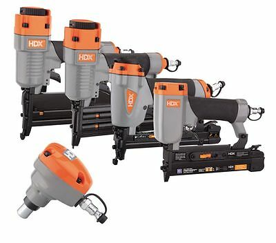 HDX Pneumatic Finish Crown Kit Brad Nailer Nail Gun 18/20/23-Gauge 5-Piece Tool