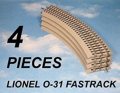 Lot 4 Pieces Lionel 6-37103 O-31 Curved Fastrack * O Gauge Train Track * New