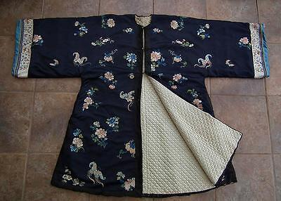 Rare Antique 19th Century Chinese Qing Dynasty Embroidered Winter Coat Robe