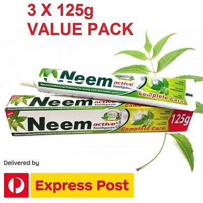 3 x 125g Neem Active Toothpaste ~ Free Express Post