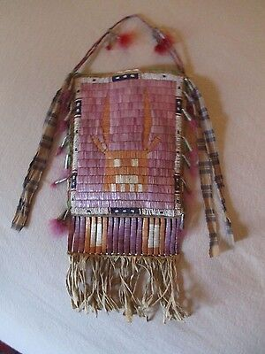 Rare Antique Lakota Sioux Quilled Elk Dreamer Society Bag