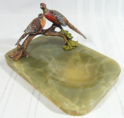 Vintage Cold Painted Bronze  Pheasants on a Pin / Trinket Dish Franz Bergman