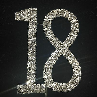 Cake Topper 18 Birthday Crystal Diamante Rhinestones 18 Silver Number Eighteen