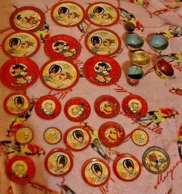 Vintage Tin/Metal Child Size Plates Cups and Bowls