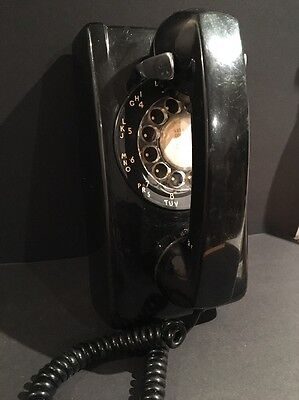 Vintage Black Rotary Dial Telephone - Northern Telecom Wall Phone