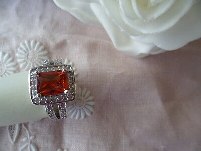 ANTIQUE ART DECO VINTAGE WHITE GOLD RING with Ruby Red Stones size 7 or O