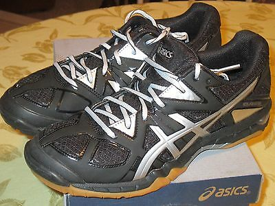 Womens 9 ASICS Gel-TACTIC VOLLEYBALL SHOES New BLACK SILVER, GUM Sole B554N 9093