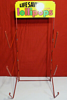 "Vintage Metal Life Savers Lollipops Counter Store Display 17.25"" Tall"