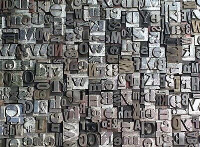 Lot Of 125+ Vintage Metal Letterpress Print Type Blocks Alphabet Letters Numbers