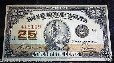 DECENT -1923 Dominion of Canada 25 Cents . FRACTIONAL CURRENCY , Shin plaster