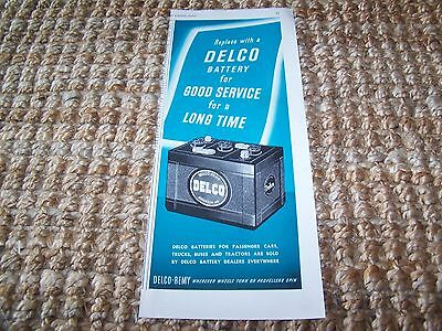 c1949 vintage Delco Remy car battery magazine print ad ~5.5X13.5 in.
