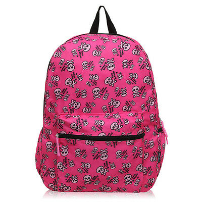 Cute Girl Skull Print School Shoulder Backpack Notebook Rucksack Travel Knapsack