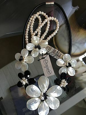 "Desiree ""Black And White"" Genuine Freshwater Pearl NECKLACE AND BRACELET SET NWT"