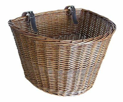Retro Handmade Wicker Bicycle Front Basket with Leather Straps Vintage Carry New