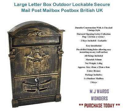 Large Letter Box Outdoor Lockable Secure Mail Post Mailbox Postbox British UK