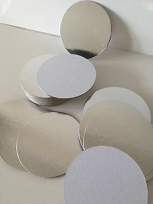 """3"""" inch ROUND THIN CUT EDGE SILVER cake boards cards sugarcraft christmas tray"""