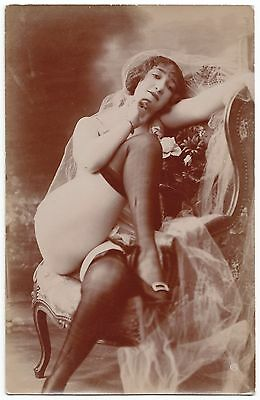 1910 Original French Erotic Rppc Nude Sexy Girl Beauty Lingerie Stockings