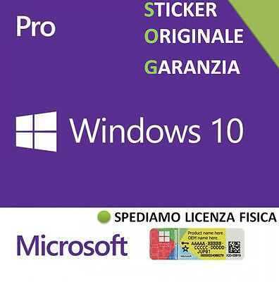 LICENZA WINDOWS 10 PROFESSIONAL PRO 32/64 BIT STICKER COA license key label