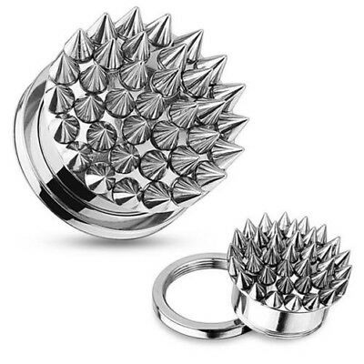 Stainless Steel Silver Screw Plug Tunnel Af with Spikes 08-16mm