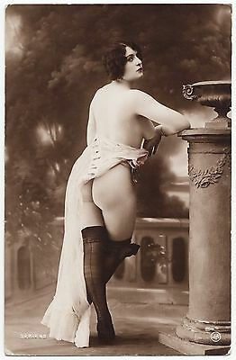 1910 Original French Erotic Rppc Nude Sexy Girl Butt Lingerie Stockings J Agelou