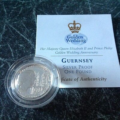 1997 Guernsey Silver Proof One Pound Coin. Queen's Golden Wedding Anniversary