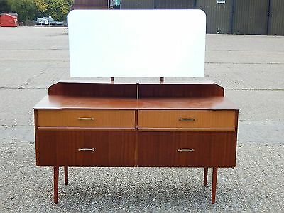 Fabulous mid century teak dressing table with long mirror back & four drawers