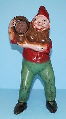 ANTIQUE GNOME ELF W/ KEG OF ALE BEER CAST IRON DOORSTOP METAL ART CIRCA 1920's