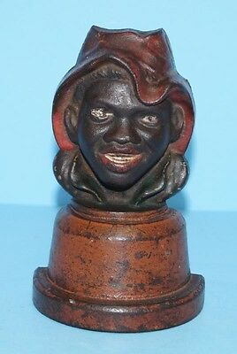 Rare Antique Sharecropper Black Man Cast Iron Doorstop Metal Art Circa 1900