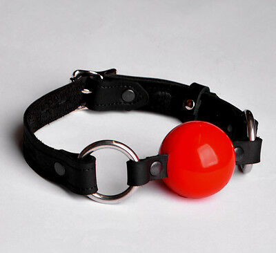 HANDCRAFTED Double Stitched Quality Locking Ball gag black leather Ga03blkRd
