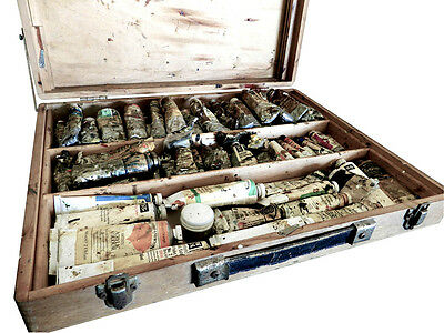 Roberson & Co Vintage Paint box + 65 Used W&N Paint tubes dating between 1940-70