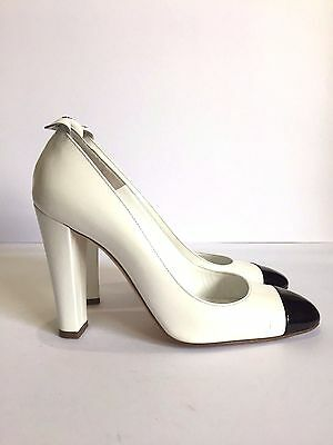 Chanel Cap Toe Heel Patent Leather White Pumps, 38.5