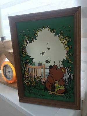 Vintage children's Wall Mirror with a bear eating honey, trees, flowers and bees