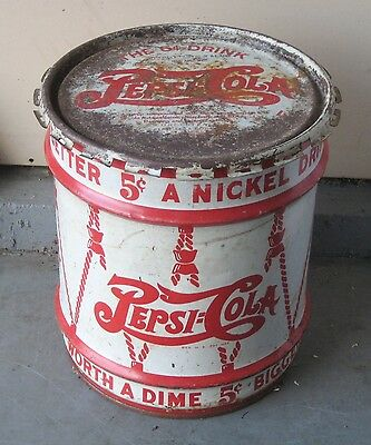 ANTIQUE PEPSI COLA SYRUP DRUM - DOUBLE DOT - NEWBERRY, MI - 1930s - With LID