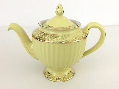 vintage HALL CHINA, 6 cup Los Angeles teapot in yellow 1920's 1930's