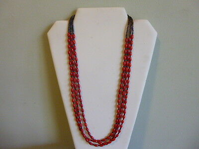 Red Coral And Heishi Bead With Silver Native AmericanSouthwestern Style Necklace