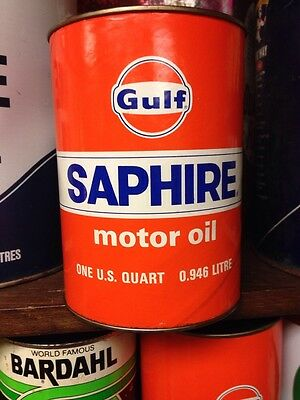 Vtg Full Gulf Saphire Motor Oil Quart Can Good Condition No Reserve