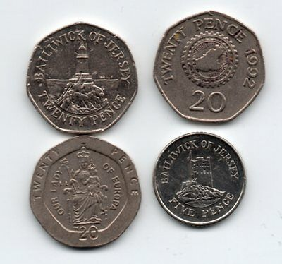 gibraltar - jersey - guernsey 20p coins and one 5p coin