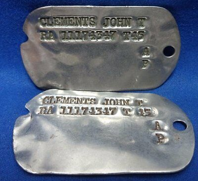 WWII 1945 Army Dog Tags T45 Set Lot Of 2