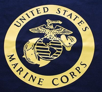 T-Shirt   US Marine Corps      navy blue shirt with yellow print  size : X-large