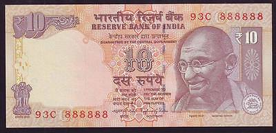 India, Rs.10 Banknote Solid Fancy Number 888888, UNC