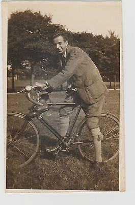 Drop Handle Bar Cycle & Cyclist With Old Style Football Boots RPPC U/P c1920/30s