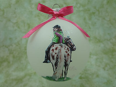 H049 Hand-made Christmas Ornament - horse - appy appaloosa girl hunt rider