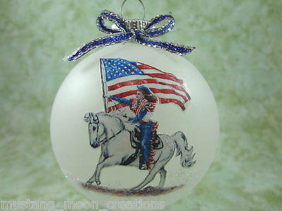 H044 Hand-made Christmas Ornament - horse - drill team USA american flag