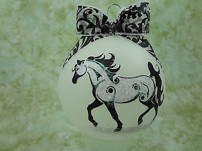 T012 Hand-made Christmas Ornament stylized HORSE tattoo - arabian trot
