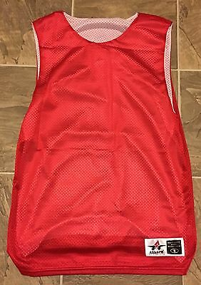 Adult Small Medium Large Reversible Red White Pinnie T-shirt Lacrosse Basketball